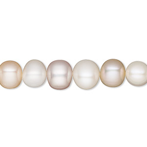 pearl, white lotus™, cultured freshwater, mauve and peach, 8-8.5mm semi-round with 0.5mm hole, b grade, mohs hardness 2-1/2 to 4. sold per 16-inch strand.
