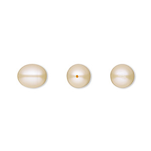 pearl, white lotus™, cultured freshwater, peach, 8x7mm half-drilled teardrop, b grade, mohs hardness 2-1/2 to 4. sold per pkg of 2.