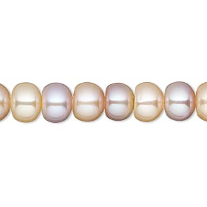pearl, white lotus™, cultured freshwater, peach and mauve, 8-8.5mm button with 1.7mm hole, c grade, mohs hardness 2-1/2 to 4. sold per 16-inch strand.