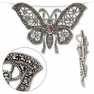 pendant / brooch, sterling silver / marcasite / amethyst, 60x47mm butterfly. sold individually.