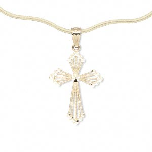 pendant, 14kt gold, 21x15mm single-sided filigree cross with diamond-cut accents on front. sold individually.