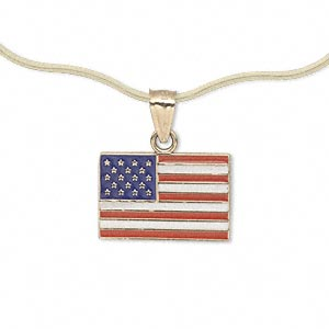 pendant, 14kt gold and enamel, red/white/blue, 18x12mm single-sided usa flag. sold individually.