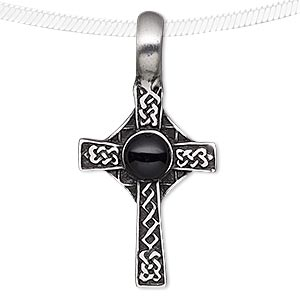 pendant, acrylic and antiqued pewter (tin-based alloy), black, 46x23mm celtic cross. sold individually.