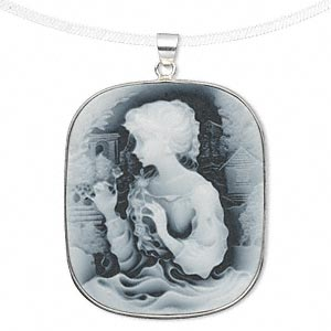 pendant, acrylic and sterling silver, grey and white, 41x35mm rectangle cameo with woman and dove. sold individually.