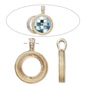 pendant, almost instant jewelry, epoxy / swarovski crystals / gold-finished pewter (zinc-based alloy), crystal clear with glitter, 33x24mm single-sided with 20mm round setting. sold individually.