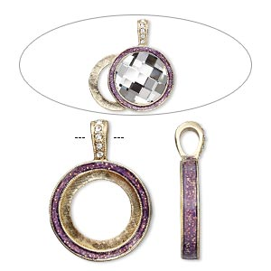 pendant, almost instant jewelry, epoxy / swarovski crystals / gold-finished pewter (zinc-based alloy), amethyst purple and crystal clear with glitter, 33x24mm single-sided with 20mm round setting. sold individually.