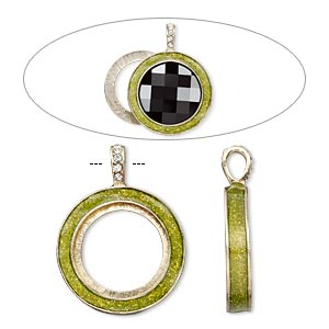 pendant, almost instant jewelry, epoxy / swarovski crystals / gold-finished pewter (zinc-based alloy), peridot green and crystal clear with glitter, 45x35mm single-sided with 30mm round setting. sold individually.