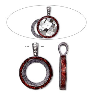 pendant, almost instant jewelry, epoxy / swarovski crystals / gunmetal-finished pewter (zinc-based alloy), light siam red and crystal clear with glitter, 33x24mm single-sided with 20mm round setting. sold individually.