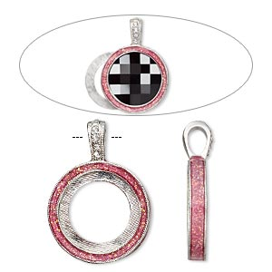 pendant, almost instant jewelry, epoxy / swarovski crystals / imitation rhodium-finished pewter (zinc-based alloy), rose pink and crystal clear with glitter, 33x24mm single-sided with 20mm round setting. sold individually.