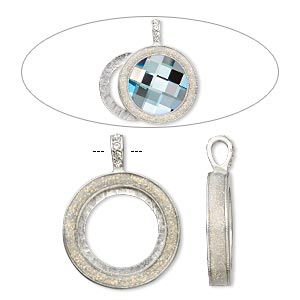 pendant, almost instant jewelry, epoxy / swarovski crystals / imitation rhodium-plated pewter (zinc-based alloy), crystal clear with glitter, 45x35mm single-sided with 30mm round setting. sold individually.