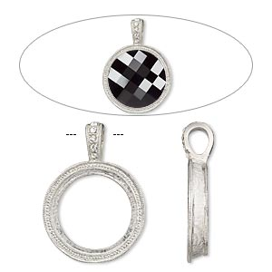 pendant, almost instant jewelry, swarovski crystals and imitation rhodium-plated pewter (zinc-based alloy), crystal clear, 34x25mm single-sided textured round with 20mm round setting. sold individually.