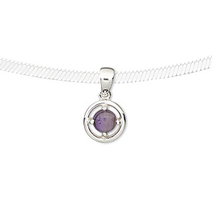 pendant, amethyst (natural) and sterling silver, 9mm round with 5mm round. sold individually.