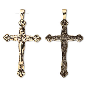 pendant, antique gold-plated pewter (tin-based alloy), 57x32mm cross with flower design. sold per pkg of 2.