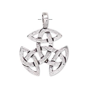 pendant, antique silver-plated brass, 24x24mm celtic knot with cutouts. sold per pkg of 2.