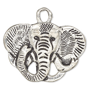 pendant, antiqued aluminum, 55x40mm double-sided elephant head. sold individually.