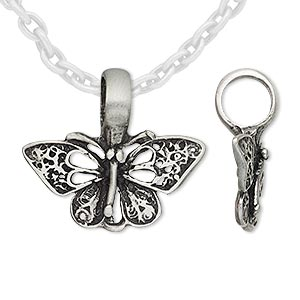 pendant, antiqued pewter (tin-based alloy), 27x24mm butterfly. sold individually.