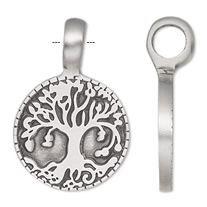 pendant, antiqued pewter (tin-based alloy), 37x25mm single-sided round with tree of life. sold individually.