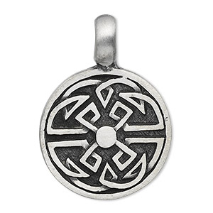 pendant, antiqued pewter (tin-based alloy), 38x27mm single-sided flat round with celtic knot design. sold individually.