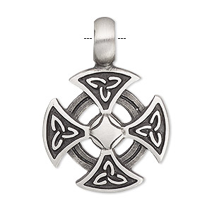 pendant, antiqued pewter (tin-based alloy), 40x28.5mm single-sided orthodox cross. sold individually.