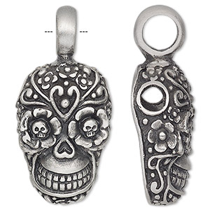 pendant, antiqued pewter (tin-based alloy), 42x20mm single-sided dia de los muertos skull with flower design and 4.5mm hole. sold individually.
