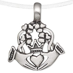 pendant, antiqued pewter (tin-based alloy), 42x35mm claddagh. sold individually.