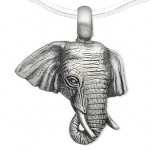 pendant, antiqued pewter (tin-based alloy), 43x35mm single-sided elephant head. sold individually.
