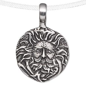 pendant, antiqued pewter (tin-based alloy), 47x31mm round with face and beard design. sold individually.