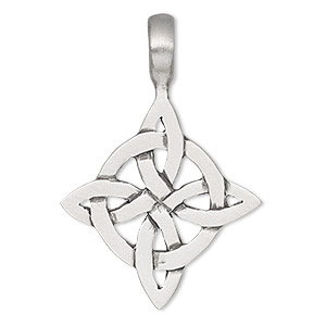 pendant, antiqued pewter (tin-based alloy), 47x32mm single-sided celtic knot. sold individually.