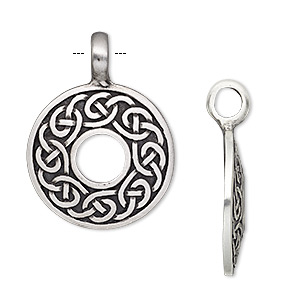 pendant, antiqued pewter (tin-based alloy), 47x35mm domed open round with celtic knot design. sold individually.