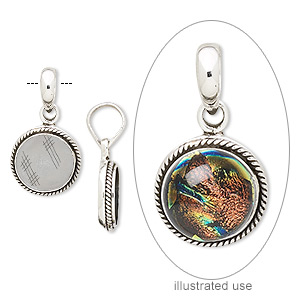 pendant, antiqued sterling silver, 27x16mm with round and twisted rope design with 12mm round bezel setting. sold individually.