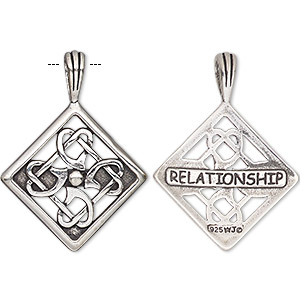 pendant, antiqued sterling silver, 33.5x24.5mm two-sided celtic diamond with cutout design and relationship. sold individually.