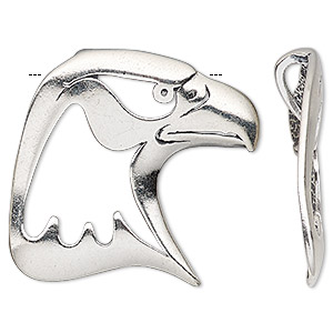 pendant, antiqued sterling silver, 35x34mm single-sided open eagle head with hidden bail. sold individually.