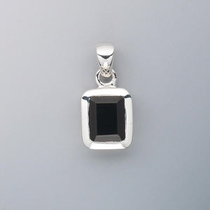 pendant, black onyx (dyed) and sterling silver, 12x10mm rectangle with 9x7mm faceted rectangle. sold individually.