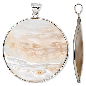 pendant, blister pearl shell (natural) and sterling silver, 38-40mm round. sold individually.