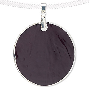 pendant, blue moon beads, capiz shell (dyed / coated) with silver-finished copper and pewter (zinc-based alloy), black, 49-50mm round. sold per pkg of 2.