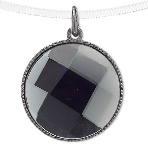 pendant, blue moon beads, glass and gunmetal-finished pewter (zinc-based alloy), grey, 38mm flat round. sold individually.