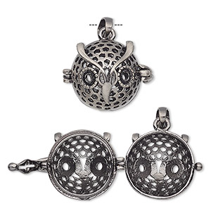pendant cage, antique silver-finished pewter (zinc-based alloy), 18x17mm round with owl design and safety latch, (2) ss16 flat back settings, fits up to 14mm bead. sold individually.