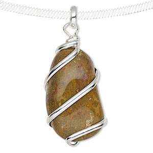 pendant, camel jasper (natural) and silver-plated brass, medium to large hand-cut wire-wrapped tumbled nugget. sold individually.