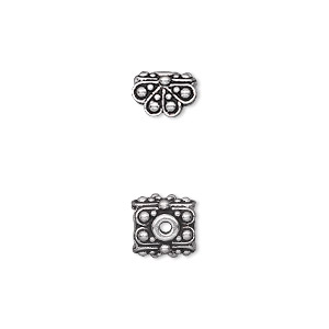 pendant cap, tierracast, antique silver-plated pewter (tin-based alloy), 8.5x8.5mm double-sided square with beaded petals, fits 4.5mm flat-sided bead. sold per pkg of 2.