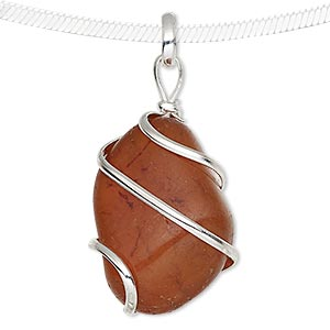 pendant, carnelian (dyed / heated) and silver-plated brass, medium to large hand-cut wire-wrapped tumbled nugget. sold individually.
