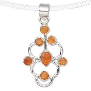 pendant, carnelian (dyed / heated) and sterling silver, 32x22mm. sold individually.