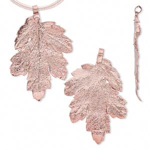 pendant, copper-plated tin and natural leaf, 21x17mm-47x37mm chrysanthemum. sold per pkg of 2.