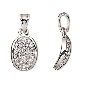 pendant, cubic zirconia and silver-plated pewter (tin-based alloy), clear, 18x14mm curved oval. sold individually.