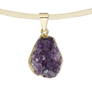 pendant, druzy amethyst (natural) with gold-plated brass and copper, 22x16mm-25x20mm hand-cut freeform. sold individually.