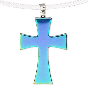 pendant, electroplated hemalyke™ (man-made) and silver-finished brass, rainbow, 38x27mm double-sided cross. sold individually.