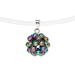 pendant, electroplated hemalyke™ (man-made) and silver-finished brass, rainbow, 14.5mm cluster. sold individually.