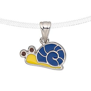pendant, enamel and silver-plated pewter (tin-based alloy), blue / yellow / brown, 22x13mm snail. sold individually.