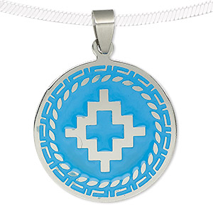 pendant, enamel and stainless steel, turquoise blue, 32mm single-sided matte and shiny flat round with southwest design. sold individually.
