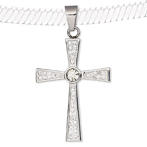 pendant, epoxy / glass rhinestone / stainless steel, clear and white, 45x29mm single-sided cross. sold individually.