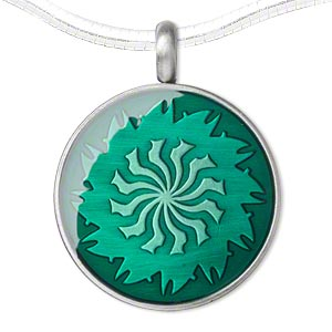 pendant, epoxy and pewter (zinc-based alloy), green, 45x35mm single-sided matte round with swirl design. sold individually.
